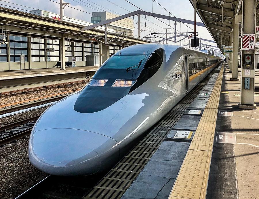 Bullet train near Osaka and Himeji in Japan