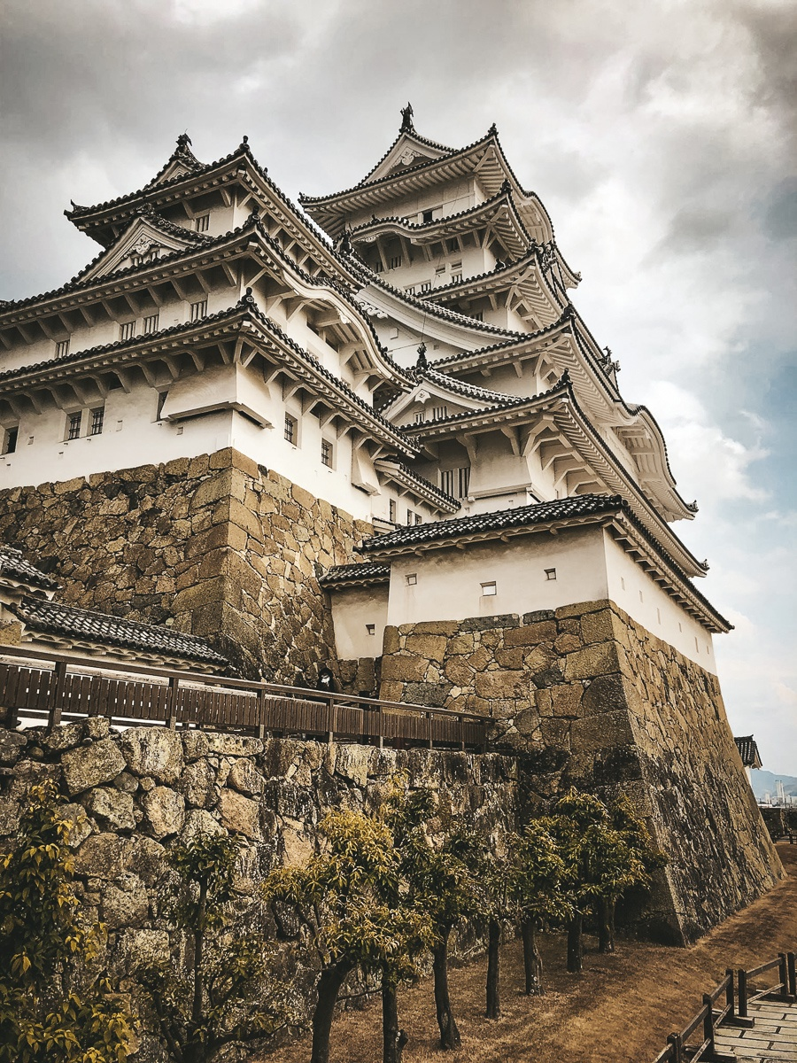 Himeji Castle in Japan on a stormy day