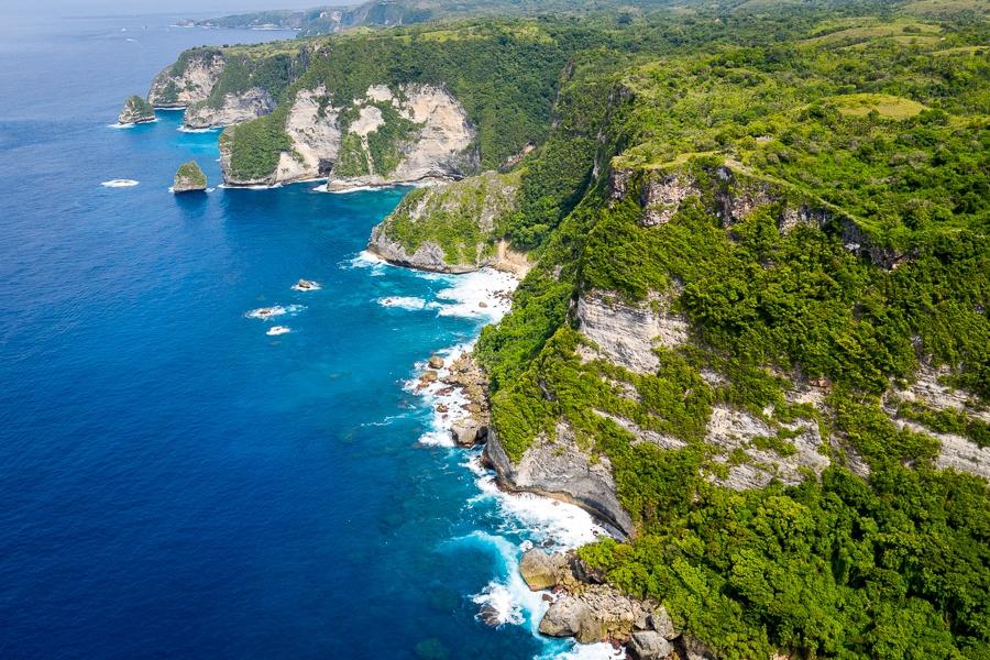 Nusa Penida cliffs and coastline in Bali, Indonesia