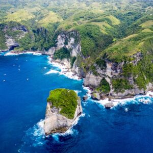 Drone pic of Manta Point in Nusa Penida Bali