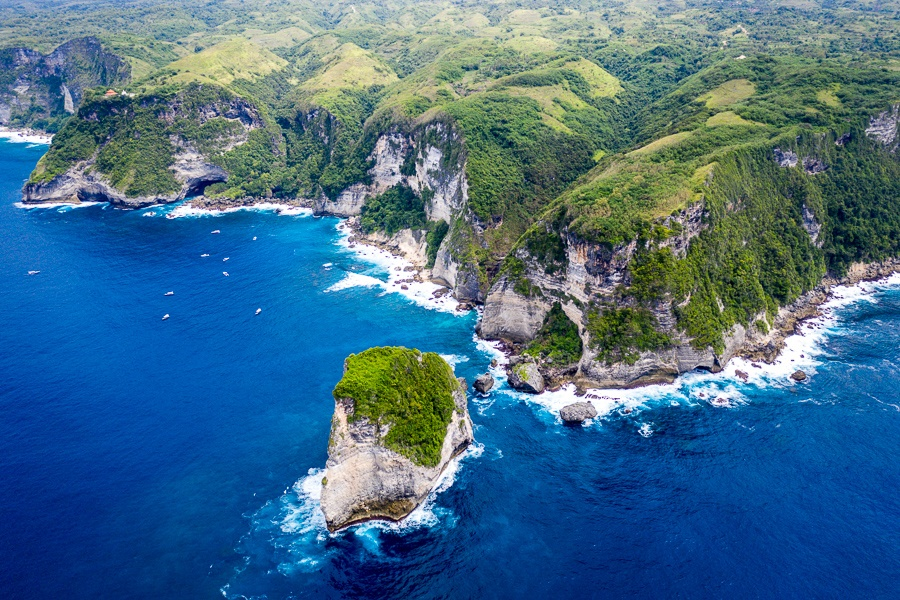 Drone view of Manta Point in Nusa Penida, Bali