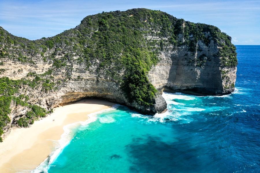 Kelingking Beach drone view in Nusa Penida, Bali