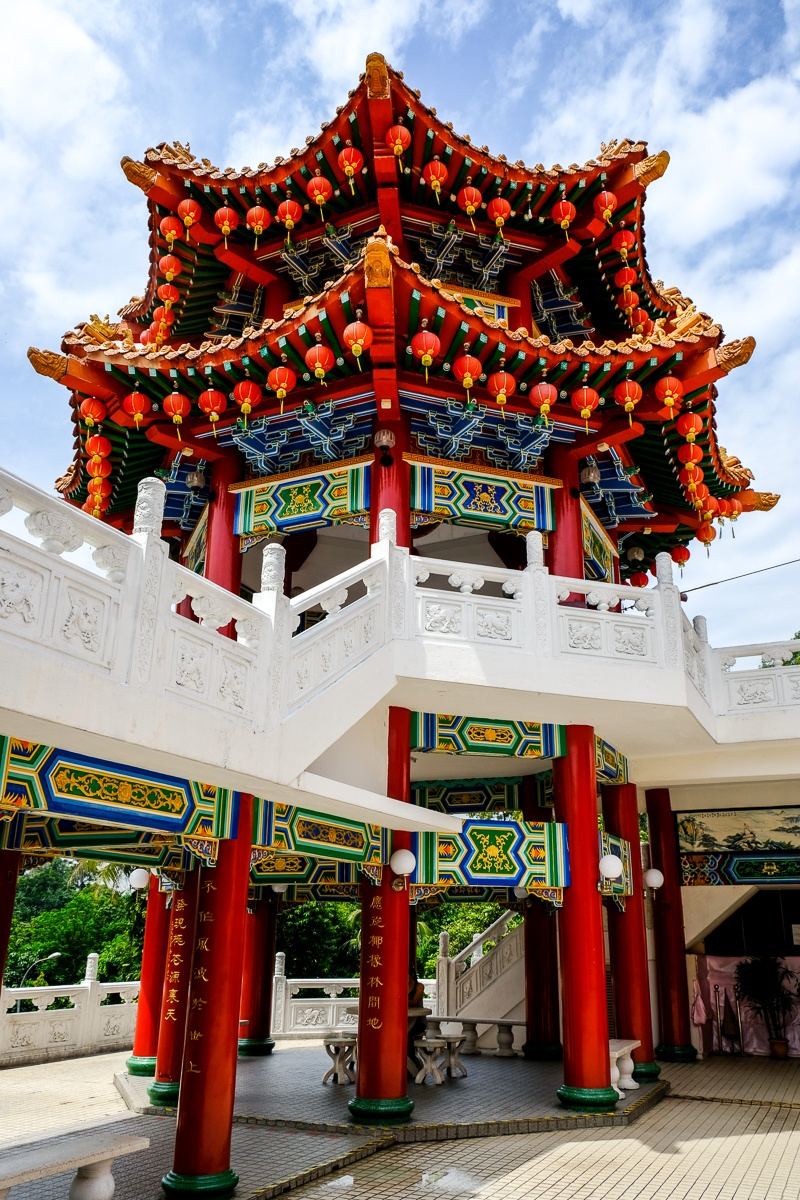 Looking up at a Chinese tower at Thean Hou Temple in Kuala Lumpur, Malaysia