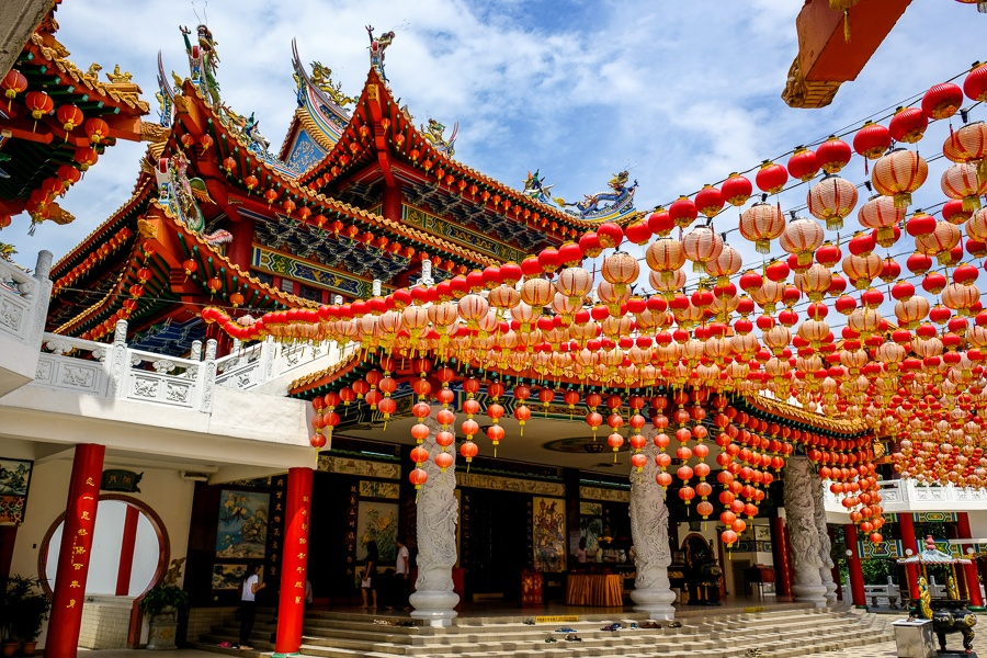 Paper lanterns and main building at Thean Hou Temple in Kuala Lumpur, Malaysia