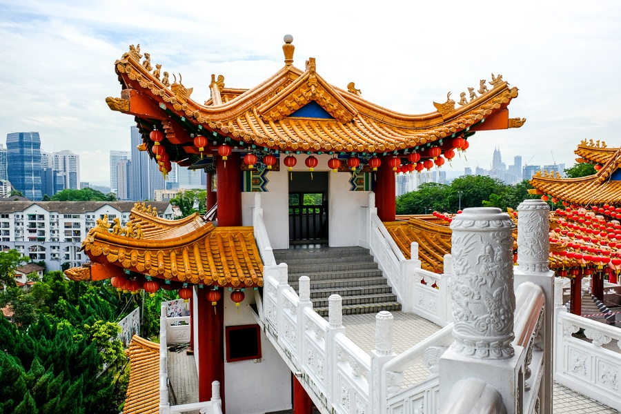 Side tower at Thean Hou Temple in Kuala Lumpur, Malaysia