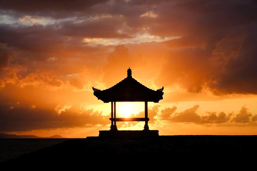 Pagoda in the Sanur Beach Sunrise in Bali