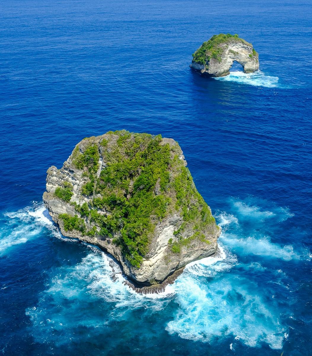 Two sea rocks at Banah Cliff Point in Nusa Penida, Bali