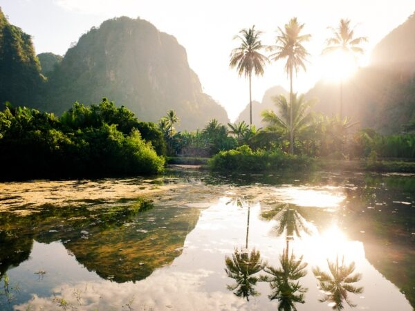 Sunrise at Rammang Rammang Maros in south Sulawesi, Indonesia