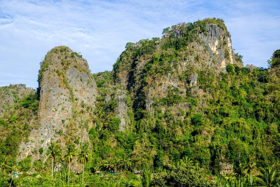 Giant karst mountains at Rammang Rammang in Sulawesi