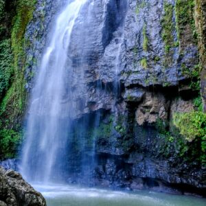 Water flowing down the rocks at Tunan Waterfall in Sulawesi