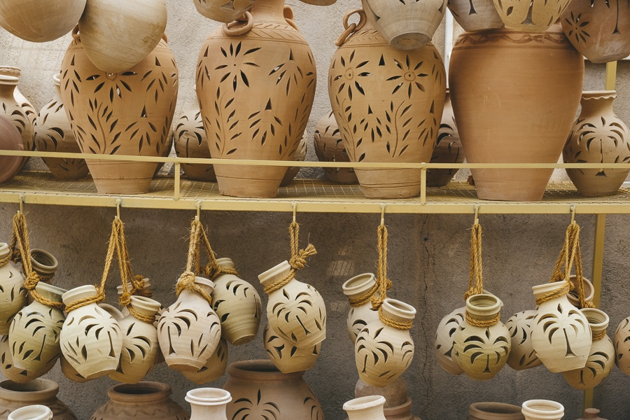 Clay pots for sale at the Nizwa market in Oman