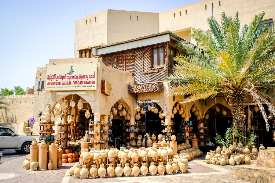 Pottery for sale at the Nizwa souq in Oman