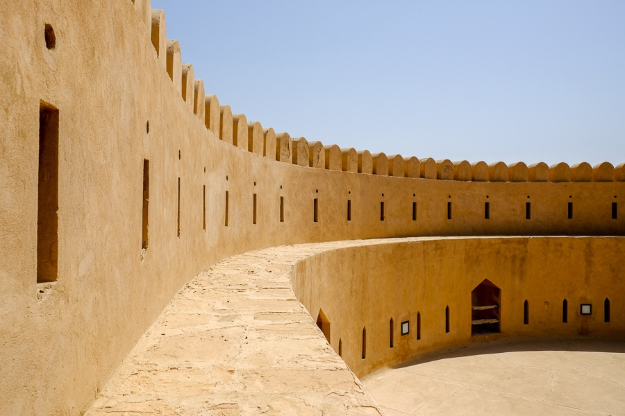 On top the curved wall at Al Hazm Castle in Oman