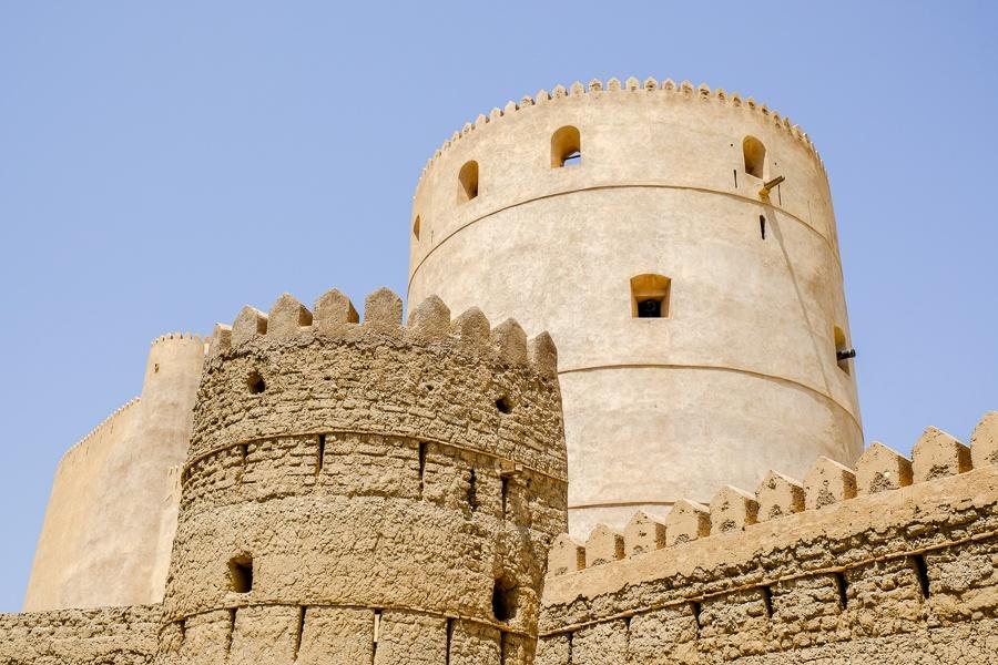 Castle turrets at Rustaq Fort in Oman