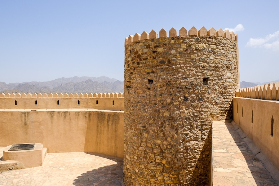 On top the castle walls at Rustaq Fort in Oman