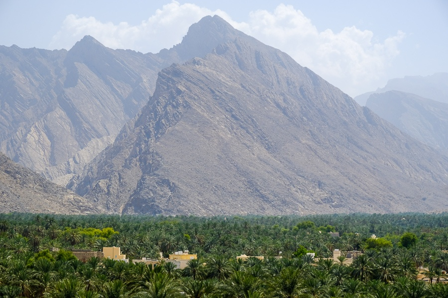 Mountains and palm trees near Nakhal Fort in Oman