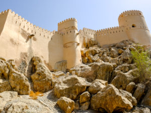 Nakhal Castle Fort walls and boulders in Oman