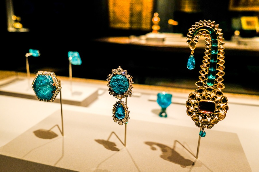 Turquoise jewelry on display at the Qatar Museum of Islamic Art in Doha