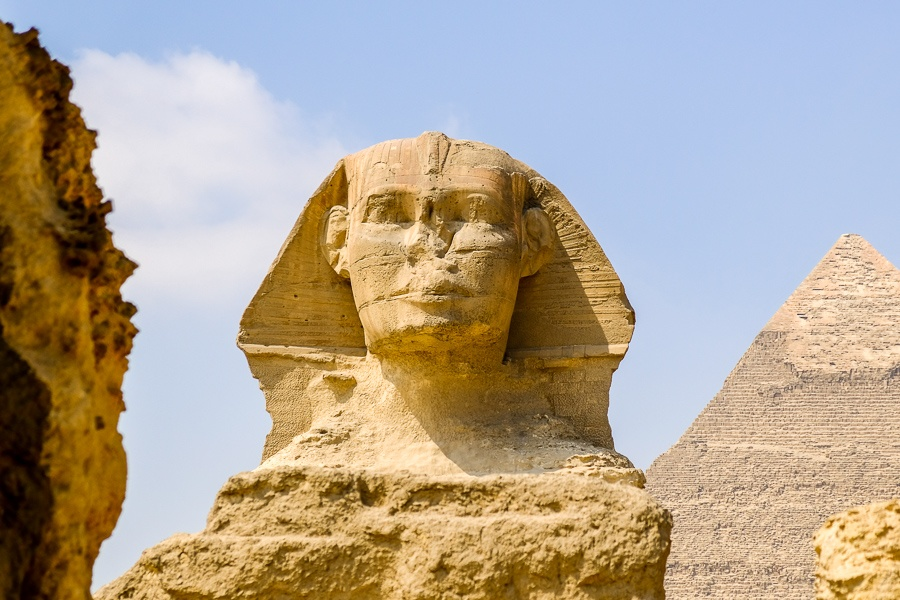 Sphinx head at the Great Pyramids of Giza in Egypt