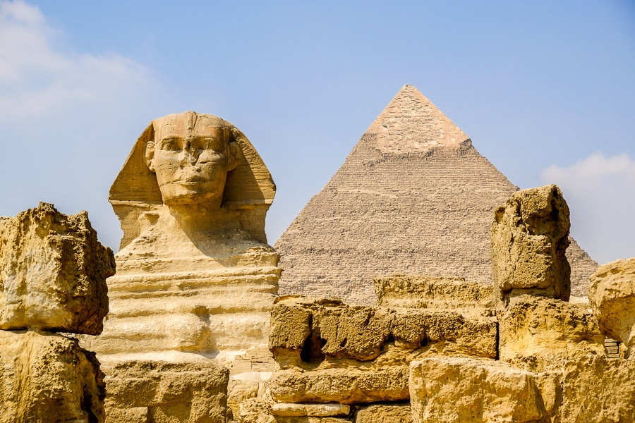Sphinx and pyramid at the Great Pyramids of Giza in Egypt