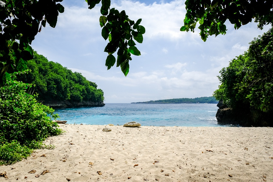 White sand on Puyung Beach in Nusa Penida, Bali