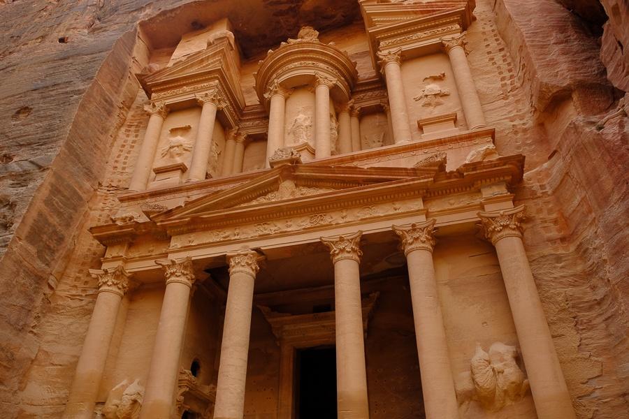 Looking up at the Treasury in Petra, Jordan