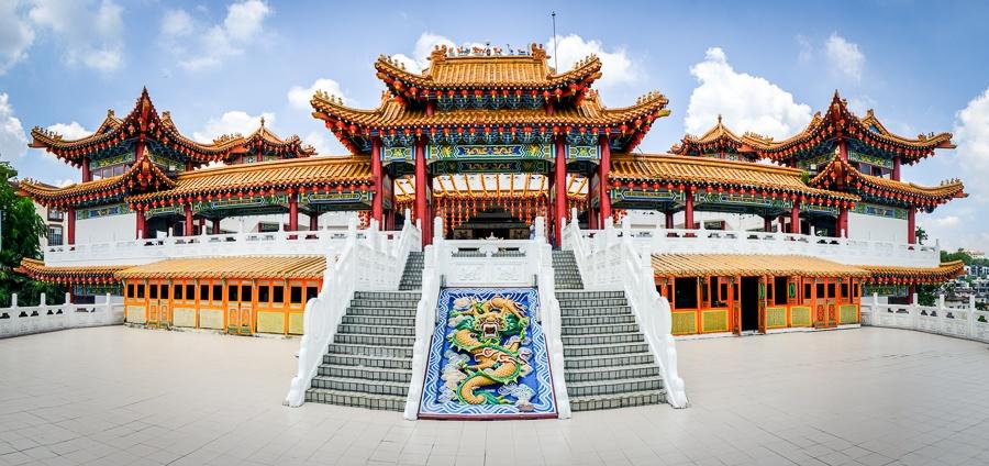Wide angle panoramic view of Thean Hou Temple in Kuala Lumpur, Malaysia