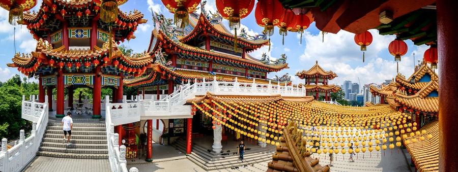 Wide angle panoramic view inside of Thean Hou Temple in Kuala Lumpur, Malaysia