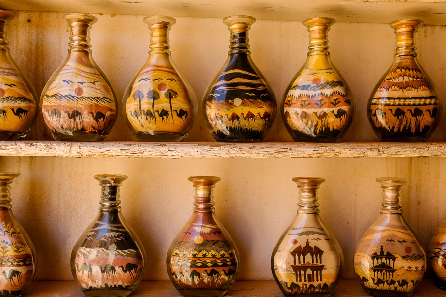 Sand art souvenirs for sale in Petra, Jordan