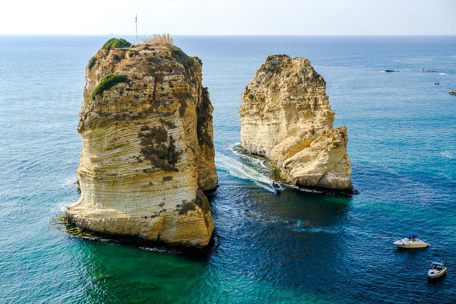 Raouche Rocks on the coast near Beirut, Lebanon