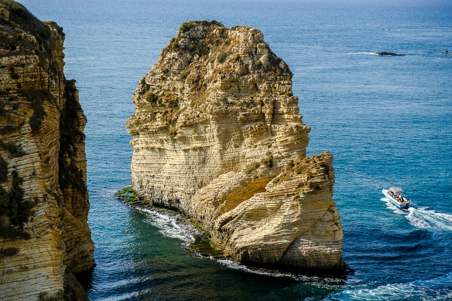 A speedboat circling the Raouche Rocks near Beirut, Lebanon