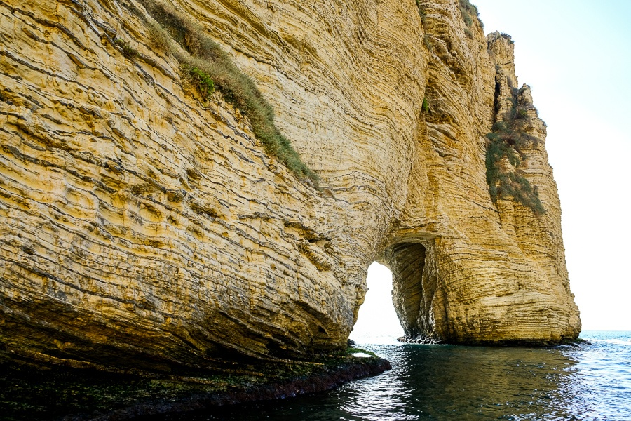 Rock arch at the Raouche Rocks near Beirut, Lebanon