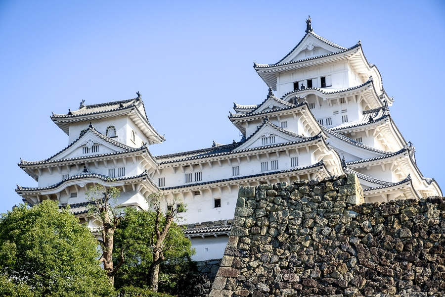 Front view of Himeji Castle in Japan
