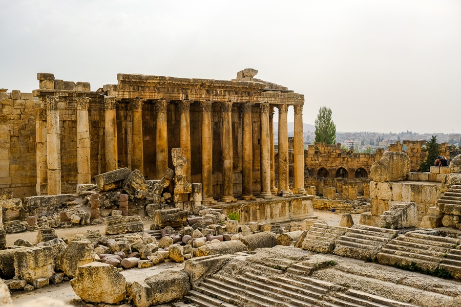 Main courtyard at the Baalbek temple ruins in Lebanon