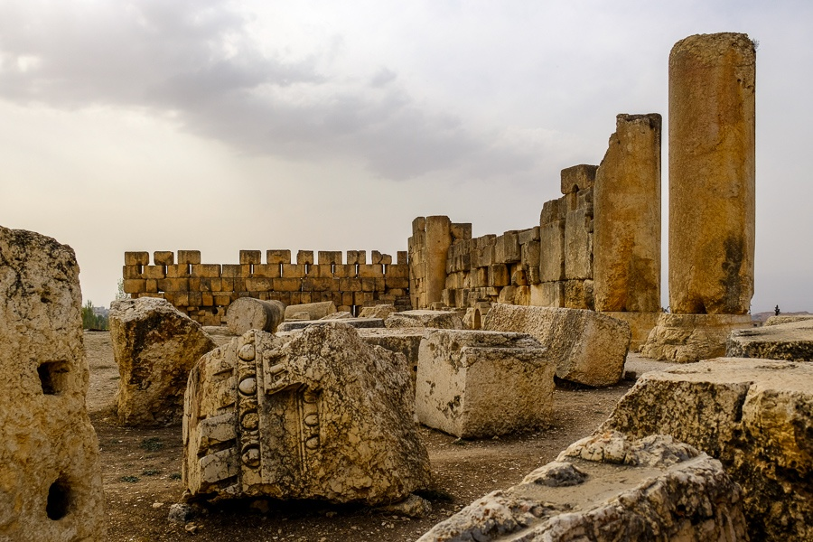 Megalithic stones at the Baalbek temple ruins in Lebanon