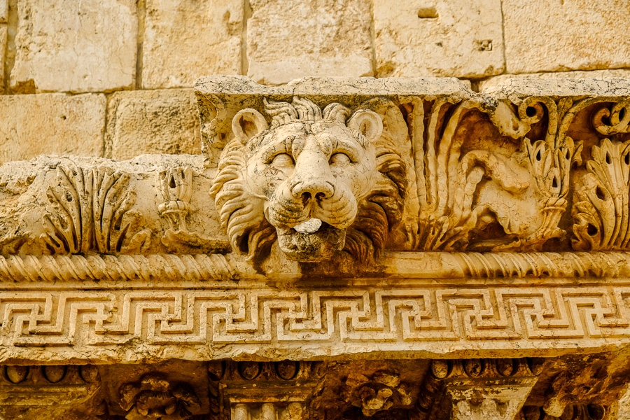 Carved stone lion face at the Baalbek ruins in Lebanon