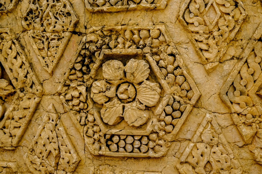 Stone flower carvings at the Baalbek temple ruins in Lebanon