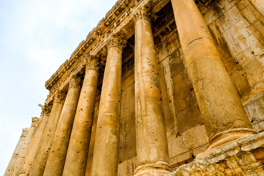 Row of pillars in the Temple of Bacchus at the Baalbek ruins in Lebanon