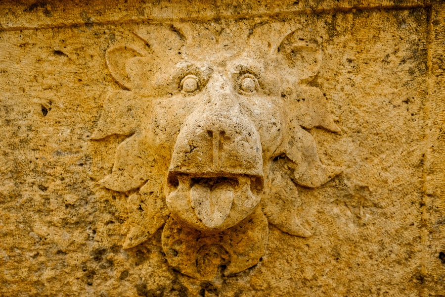 Funny carved stone lion face at the Baalbek ruins in Lebanon