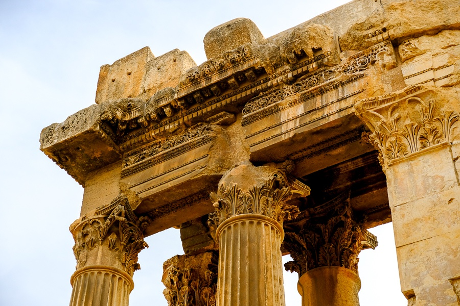 Top pillars at the Baalbek temple ruins in Lebanon