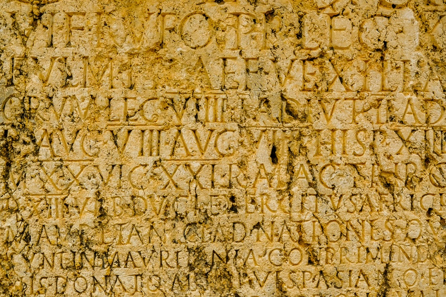 Roman inscription at the Baalbek temple ruins in Lebanon