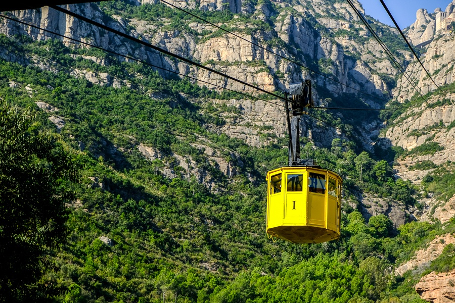 Cable car ride in the mountains to Montserrat