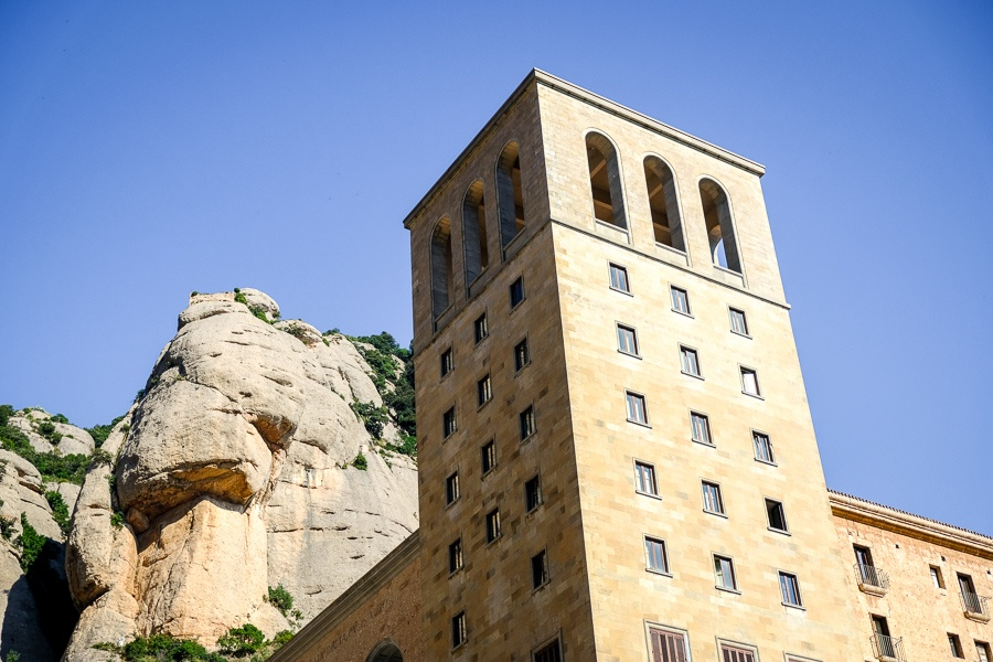 Bell tower at Montserrat Plaza in Spain