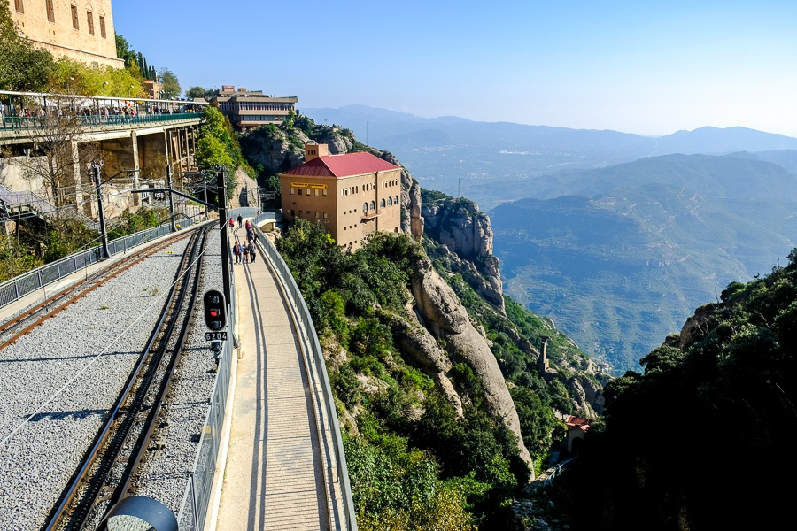 Montserrat railway at the top of the mountains