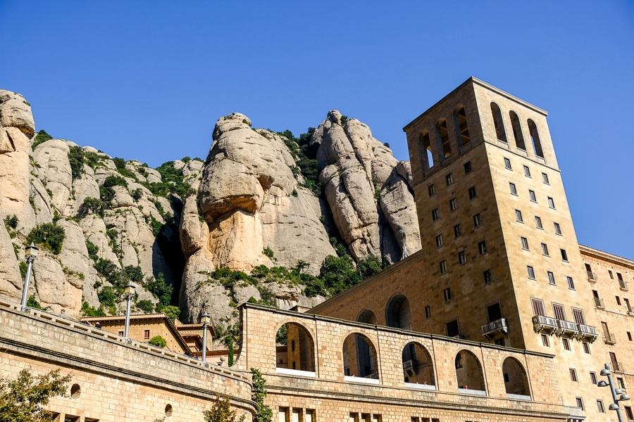 Main plaza buildings at Montserrat National Park in Spain