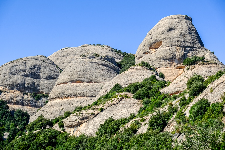 Smooth round mountain peaks at Montserrat National Park in Spain