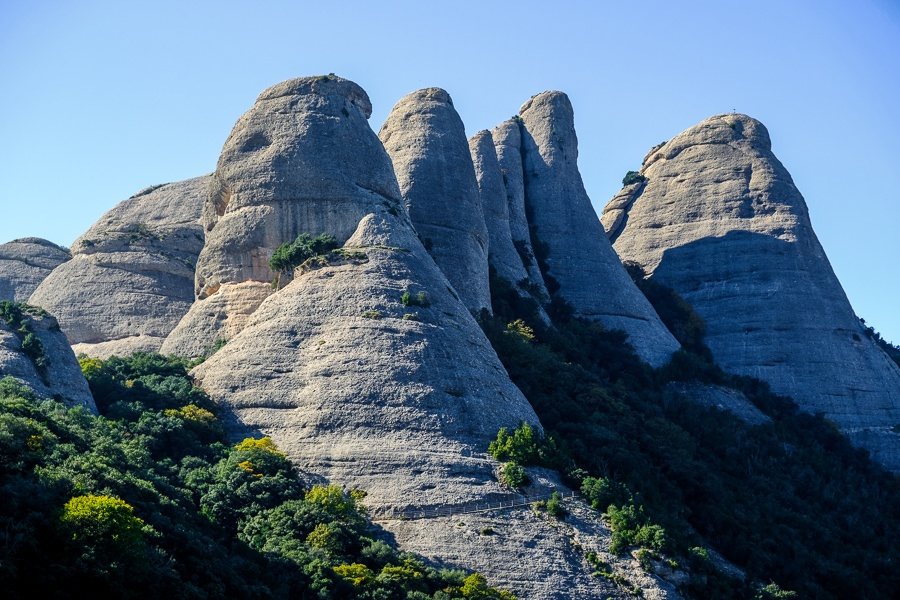 Pointy peaks at Montserrat National Park in Spain