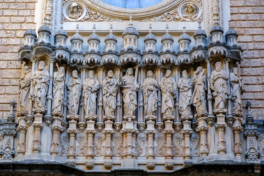 Artistic catholic figures on the monastery at Montserrat National Park in Spain
