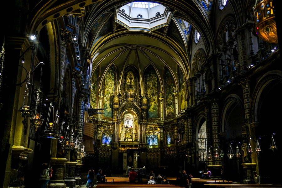 Inside the cathedral basilica at Montserrat plaza in Spain