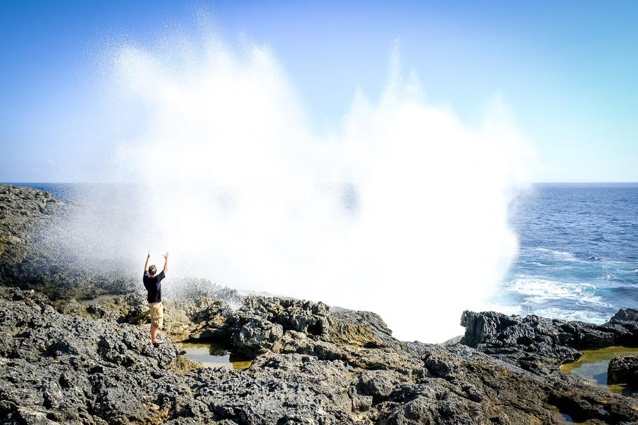 Eruption at Smoke Beach in Nusa Penida, Bali